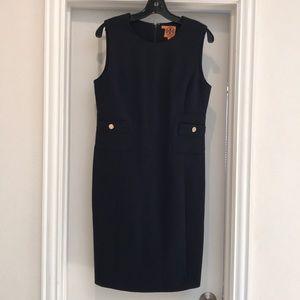 Tory Burch sleeveless wool blend dress size 8 navy